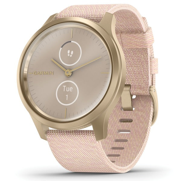 vivomove(R) Style Hybrid Smartwatch (Light Gold Aluminum Case with Blush Pink Woven Nylon Band)