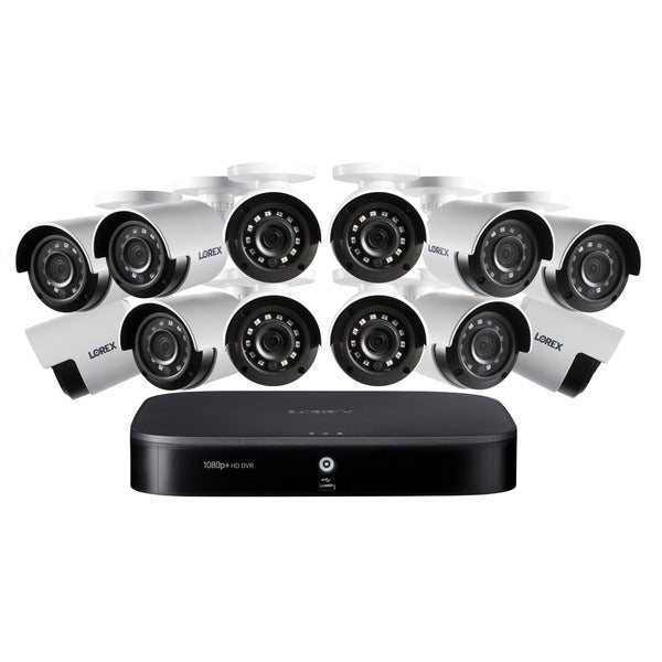 1080p HD 16-Channel DVR Security System with 2 TB DVR and Twelve 1080p Night Vision Bullet Security Cameras with Smart Home Control