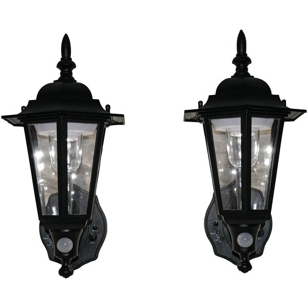 Battery-Powered Motion-Activated Plastic LED Wall Sconce, 2-Pack (Black)