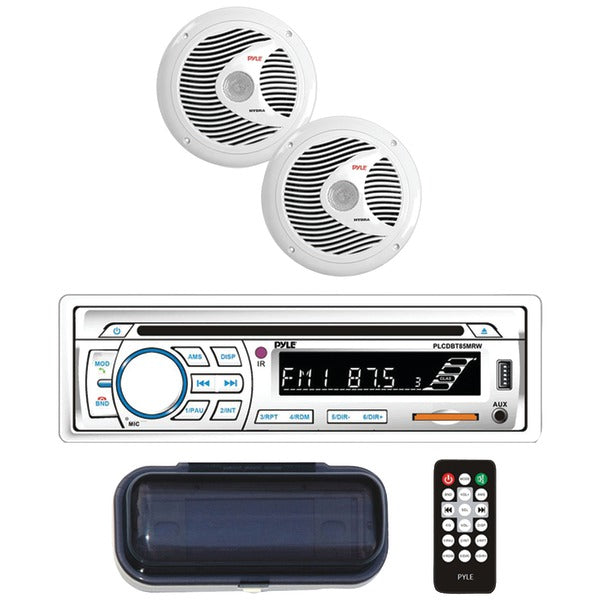 "Marine Single-DIN In-Dash CD AM-FM Receiver with Two 6.5"" Speakers, Splashproof Radio Cover & Bluetooth(R) (White)"