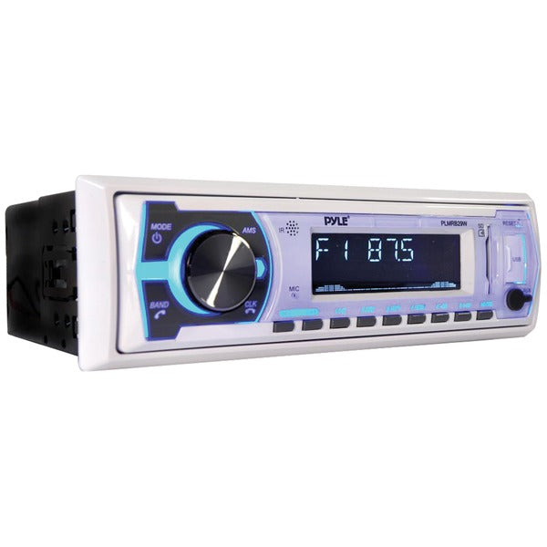 Single-DIN In-Dash Digital Marine Stereo Receiver with Bluetooth(R) (White)