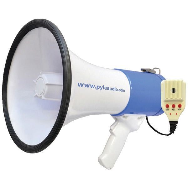 50-Watt Megaphone Bullhorn with Record, Siren & Talk Modes