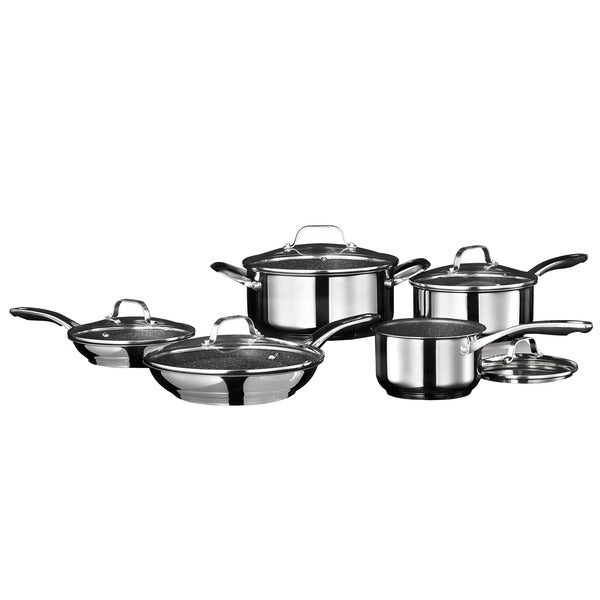 Stainless Steel Non-Stick 10-Piece Cookware Set with Stainless Steel Handles