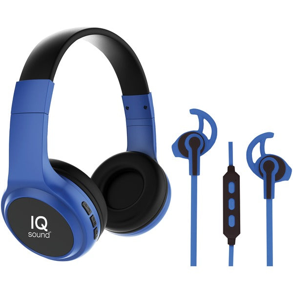 2-in-1 Bluetooth(R) Headphones-Earbuds with Microphone Combo (Blue)