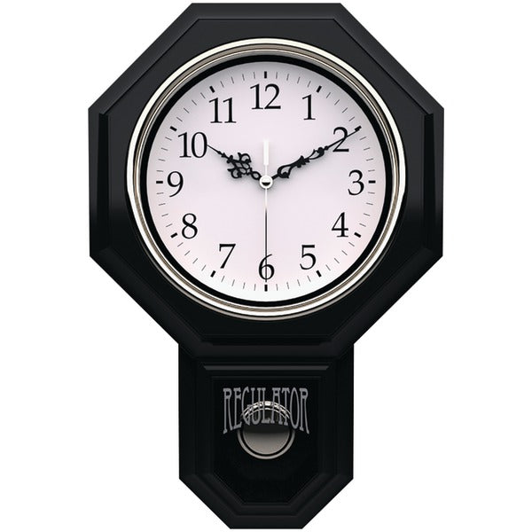 "Essex 18.75"" Modern Pendulum Wall Clock (Black)"