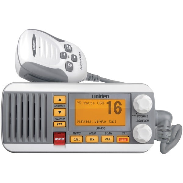 Uniden UM435 25-Watt Full-Featured Fixed-Mount VHF Marine Radio (White)