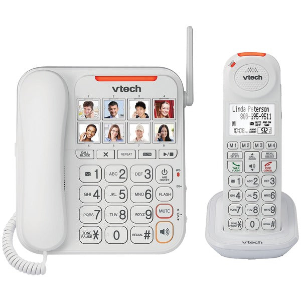VTech VTSN5147 Amplified Corded-Cordless Answering System with Big Buttons & Display