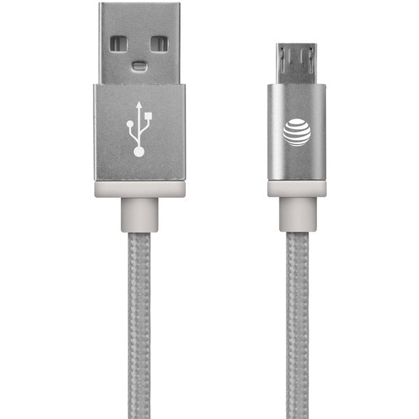 Charge & Sync Braided USB to Micro USB Cable, 5ft (Silver)