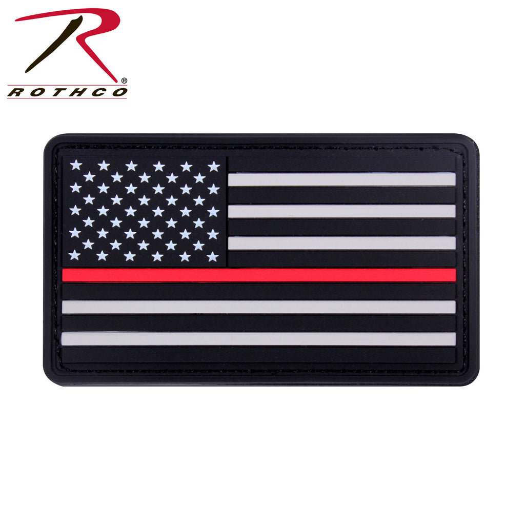 Rothco Rubber Thin Red Line Flag Patch - Hook Back