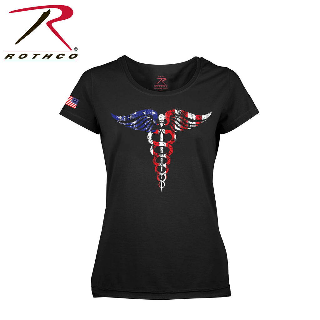 Rothco Women's Medical Symbol (Caduceus) Long Length T-Shirt - Black