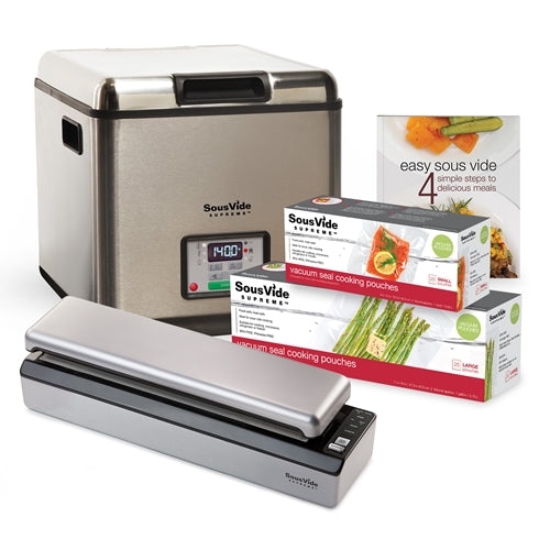 SousVide Supreme Stainless Steel Water Oven and accessories