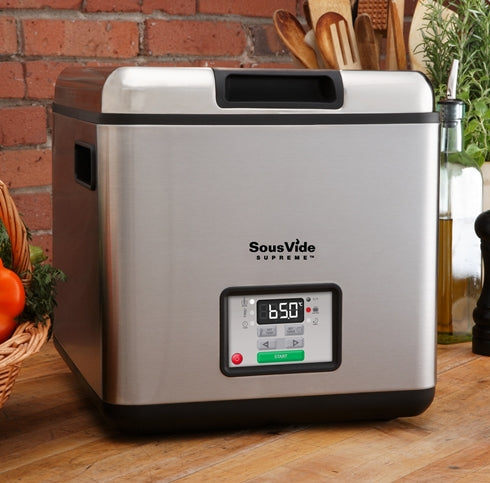Counter top front view of SousVide Supreme Stainless Steel Water Oven