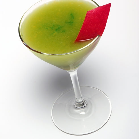 Green martini prepared from sous vide cocktails cookbook