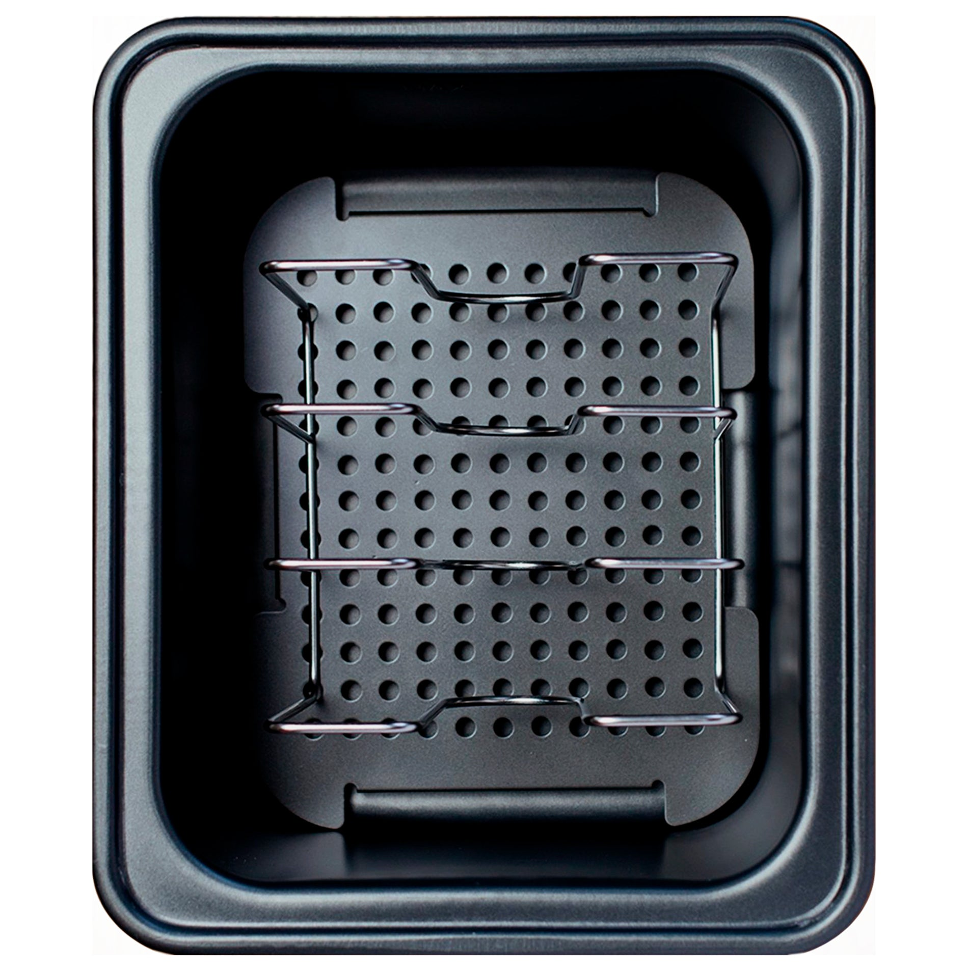 Top view of SousVide Supreme Demi Water Oven perforated grill and pouch rack placement