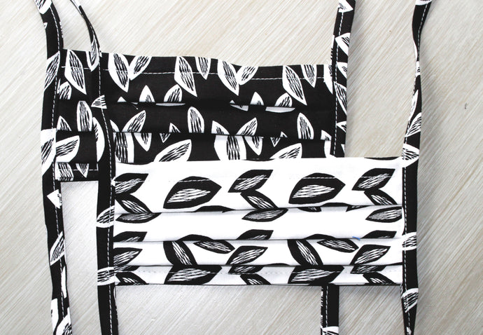 Modern Masks - Black and White Leaf pattern