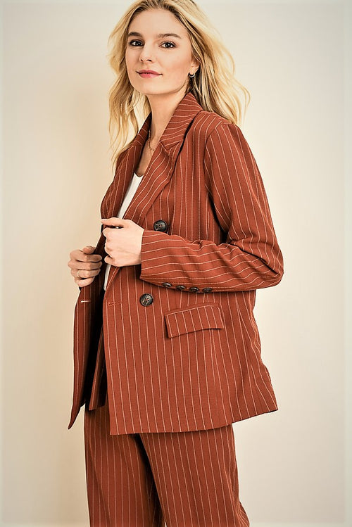Striped Double Breasted Blazer (JJ17142ST)