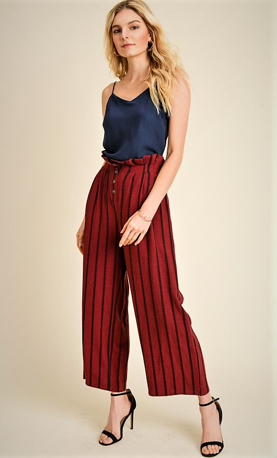 High waist, wide leg woven pants(JP313)