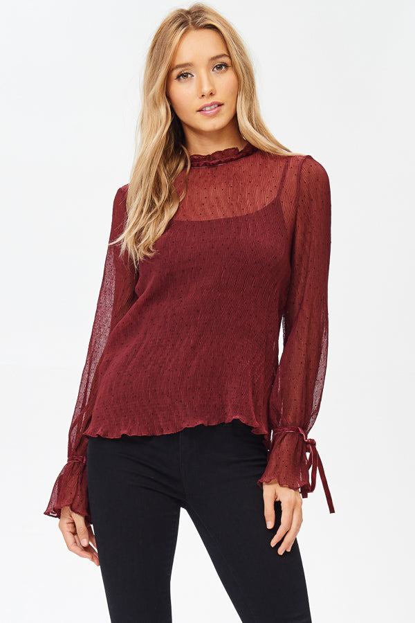 Sheer Mock Neck Blouse