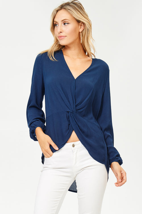 Front-Knot, Long Sleeve Blouse(JT822)