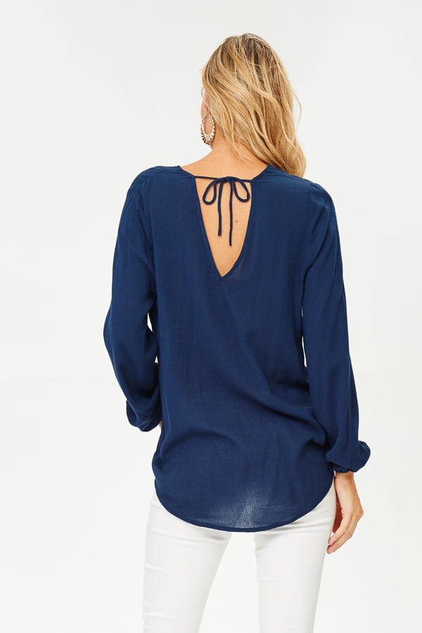 Front-Knot, Long Sleeve Blouse (JT822)