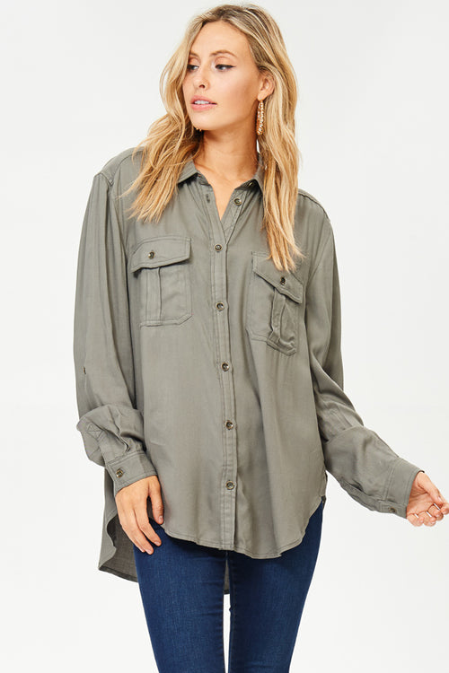 Collared Button-up Blouse(JT234)