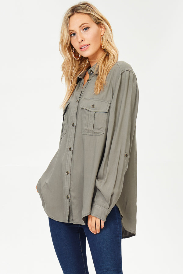 Collared Button-up Blouse
