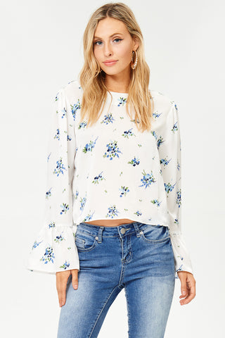 Navy Long Sleeve Print Blouse(JT868-1)