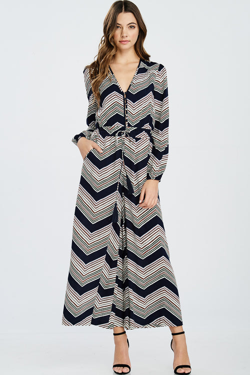 Chevron Long Sleeve Jumpsuit
