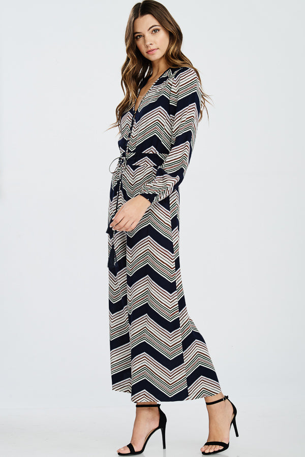 Chevron Print Long Sleeve Jumpsuit(JR17010)
