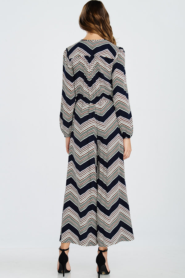 Chevron Print Long Sleeve Jumpsuit