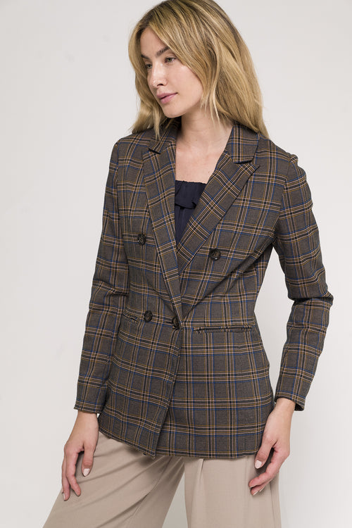 Double Breasted Plaid Blazer(JJ17142)
