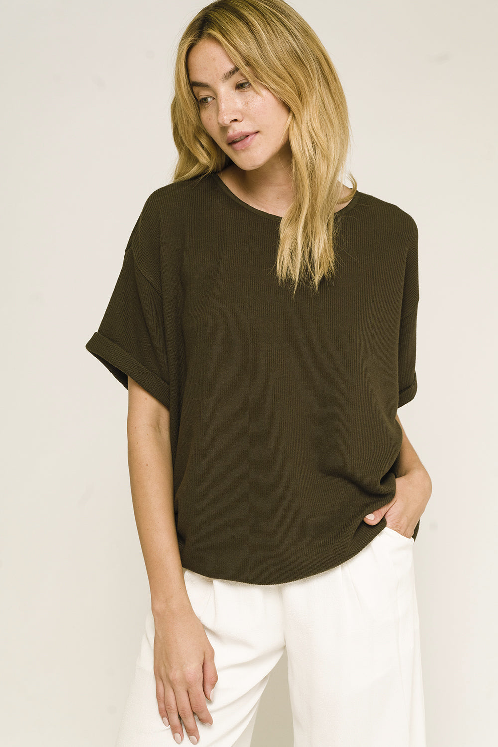 Olive Short Sleeve Knit Top