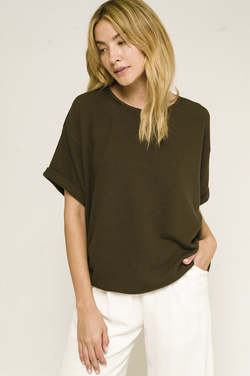 Olive Short Sleeve Knit Top (JT17037)