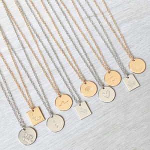 Silver Medallion Initial Necklace