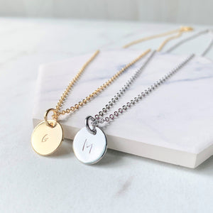 Coin Initial Necklace - Hand Stamped