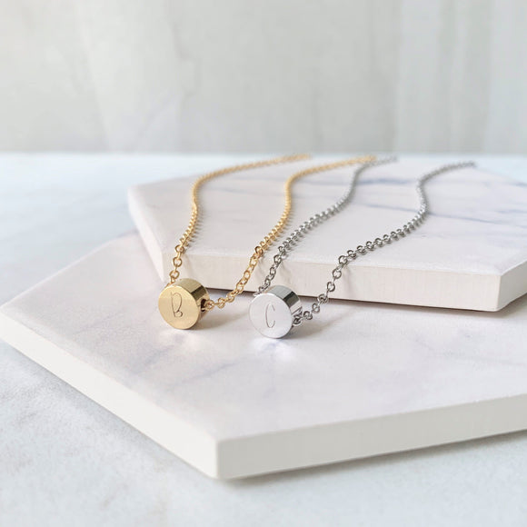 Floating Dot Initial Necklace - Hand Stamped