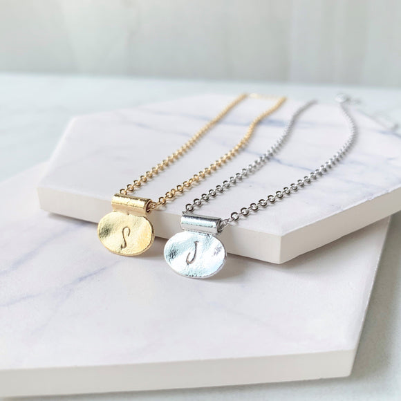Oval Tag Initial Necklace - Hand Stamped