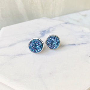 Peacock Blue Druzy Stud Earrings