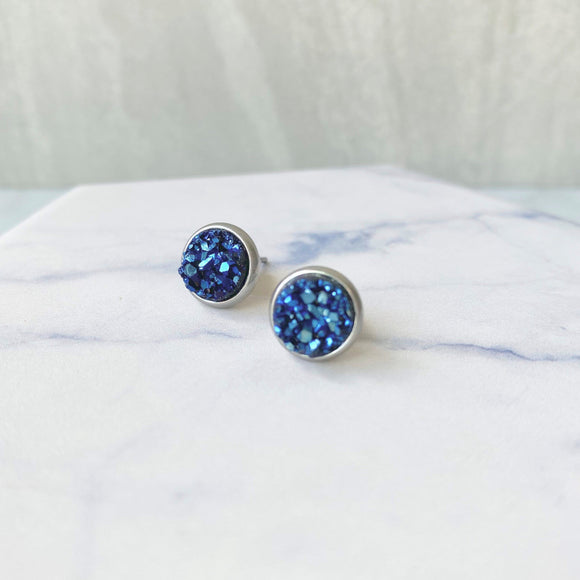 Petite Dark Blue Druzy Stud Earrings