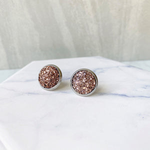 Rose Gold Druzy Stud Earrings