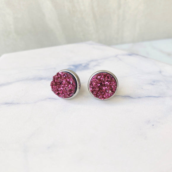 Wine Druzy Stud Earrings