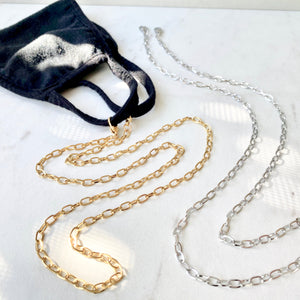 Oval Link Mask Chain Necklace
