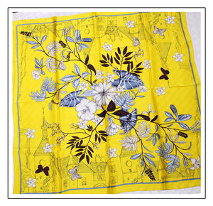 Floral Print Silk Square Scarf with butterflies