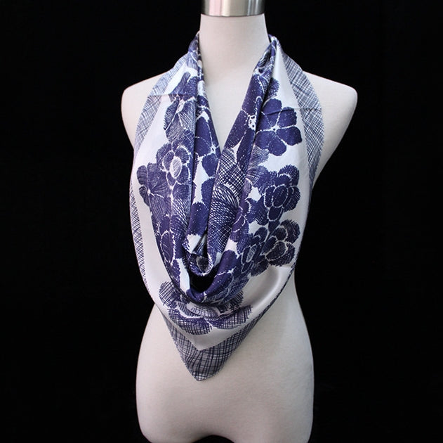 Floral Print Silk Square Scarf