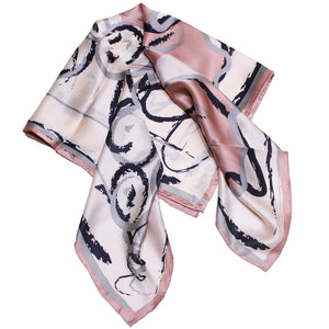 Silk square scarf with grape vines print
