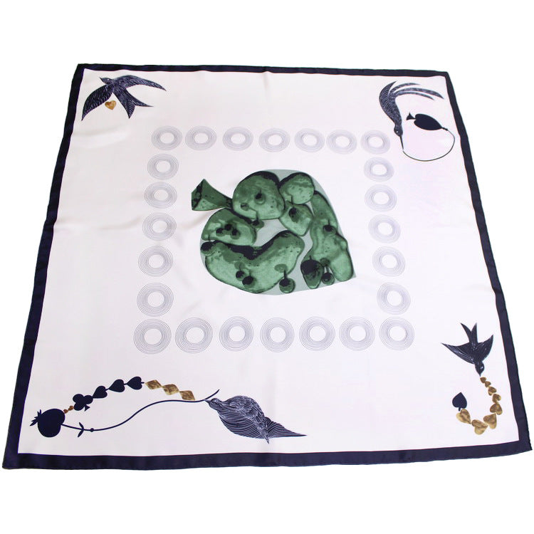 Silk scarf with birds print