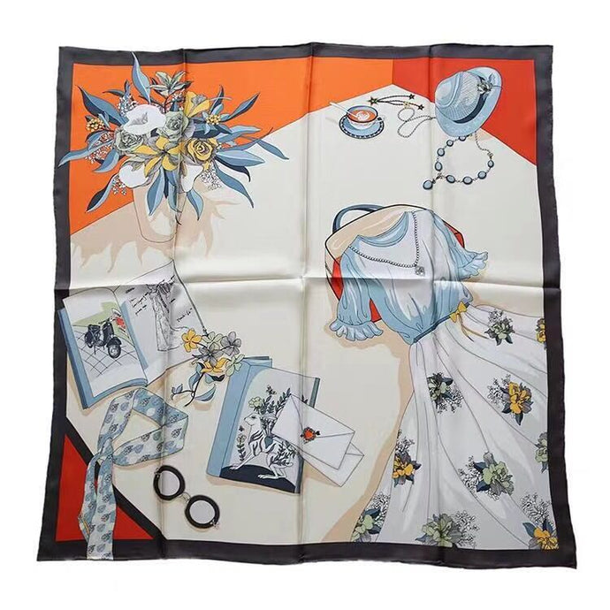 Premium Silk Square Scarf with vacation theme design