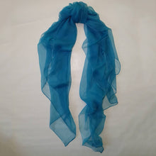 Blue silk chiffon scarf by Green Scarf Boutique.