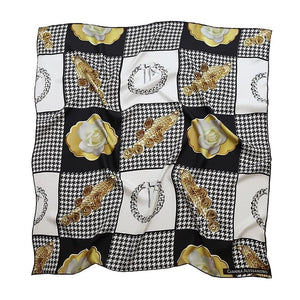 Silk-Twill Square Scarf with heritage houndstooth print