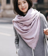 Checked Scarf with fringed edges